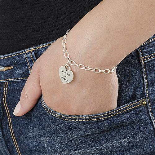Sterling Silver  Heart Charm Bracelet - 2