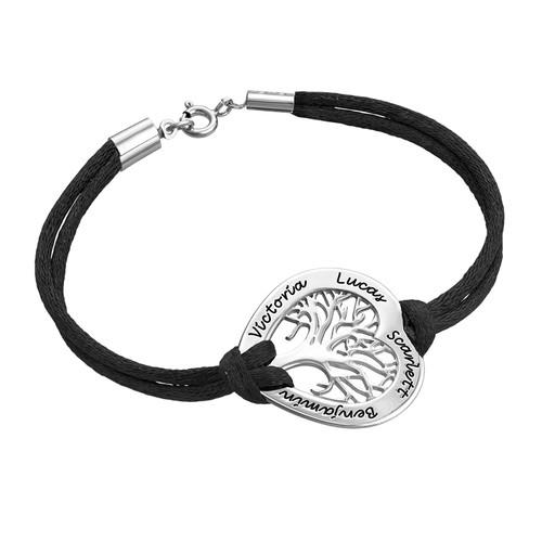 Sterling Silver Heart Family Tree Bracelet