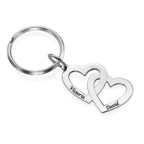 Sterling Silver Heart in Heart Keyring