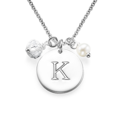 Sterling Silver Initial Charm Disc Necklace