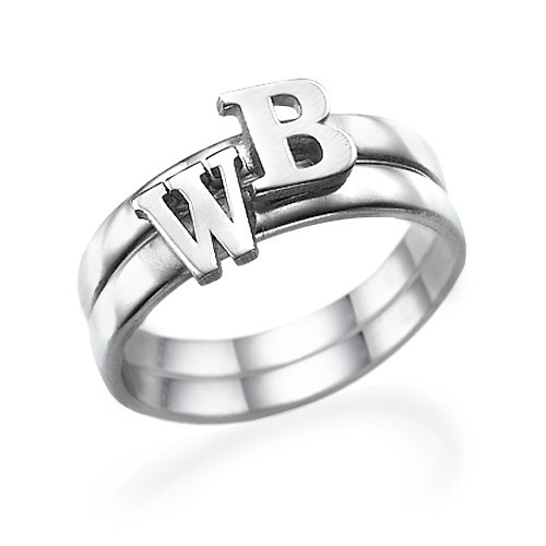 Sterling Silver Initial Ring - 2