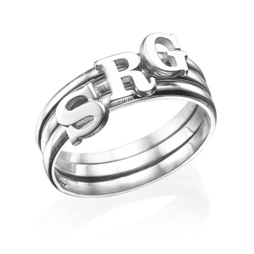 Sterling Silver Initial Ring - 3