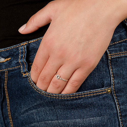 Sterling Silver Initial Ring - 4