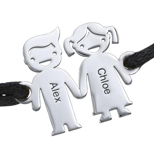 Sterling Silver Kids Holding Hands Bracelet - 1