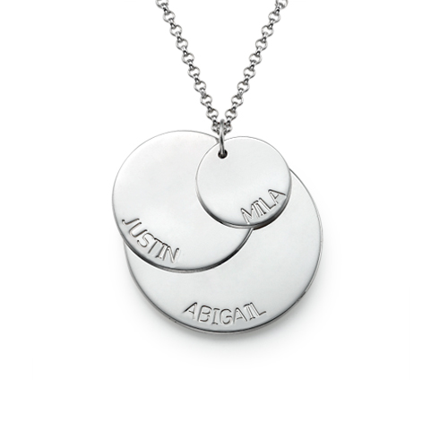 Sterling Silver Mum Necklace with Names - 1