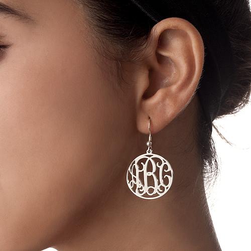 Sterling Silver Monogram Earrings - 1