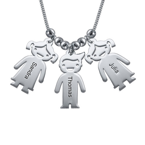 Mother's Necklace with Children Charms - 1