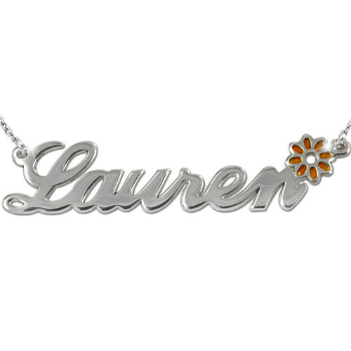 Sterling Silver Name Necklace with Colour Charm - 2