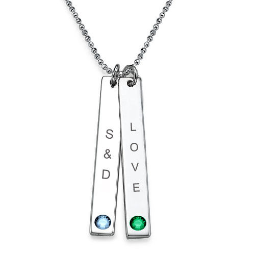 Personalised Bar of Love Necklace with Swarovski - 1