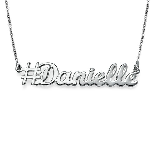 Sterling Silver Personalised Hashtag Necklace