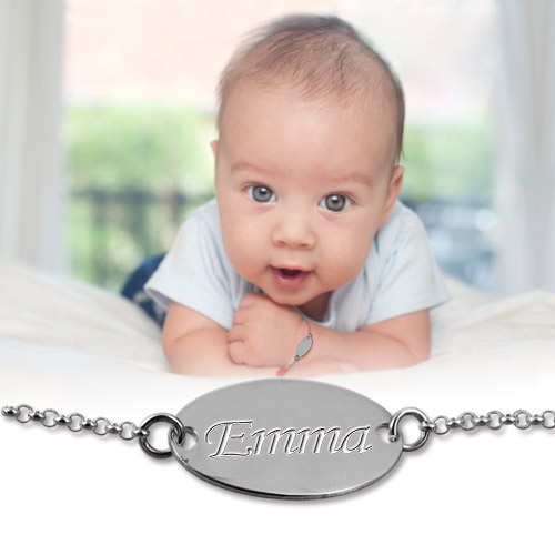 Sterling Silver Personalised Baby Name Bracelet - 2