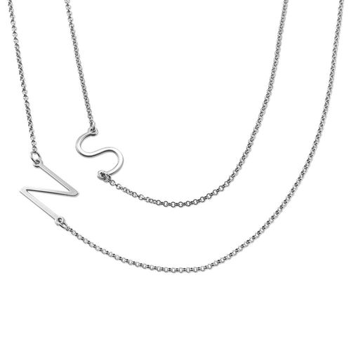 Sterling Silver Sideways Initial Necklace - 1