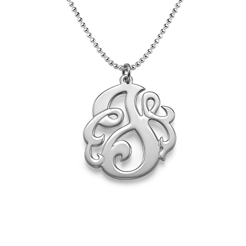 Sterling Silver Swirly Initial Necklace