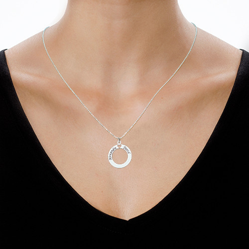 Sterling Silver personalised Circle Necklace - 1