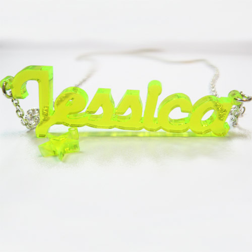 Colour Name Necklace with Charm - New York Style - 1