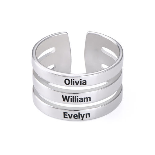 Three Name Ring in Silver - 1