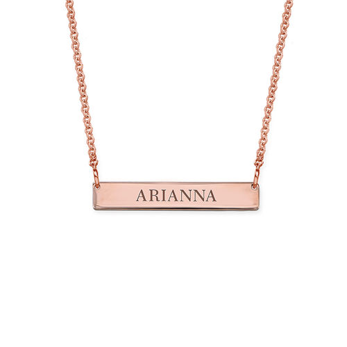 Tiny 18ct Plated Rose Gold Bar Necklace with Engraving