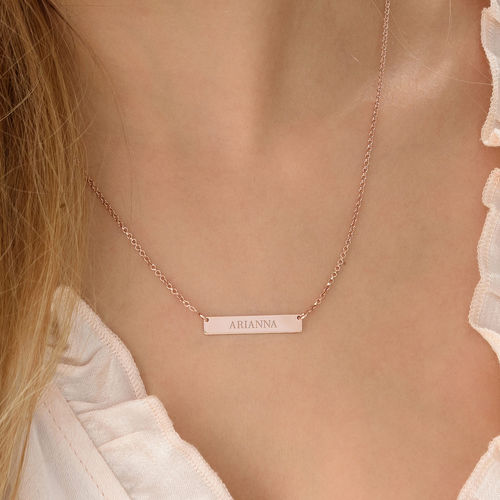 Tiny 18ct Plated Rose Gold Bar Necklace with Engraving - 2