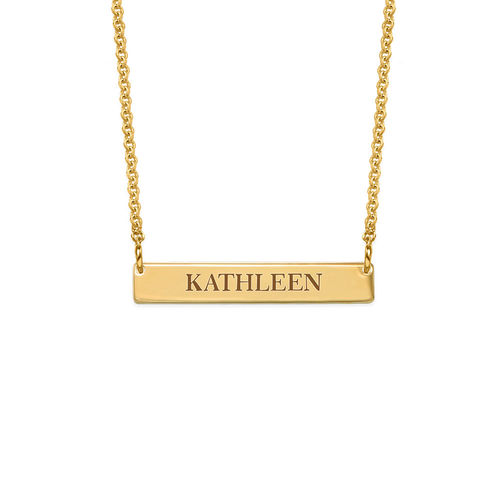 Tiny Engraved Bar Necklace in 18ct Gold Plating