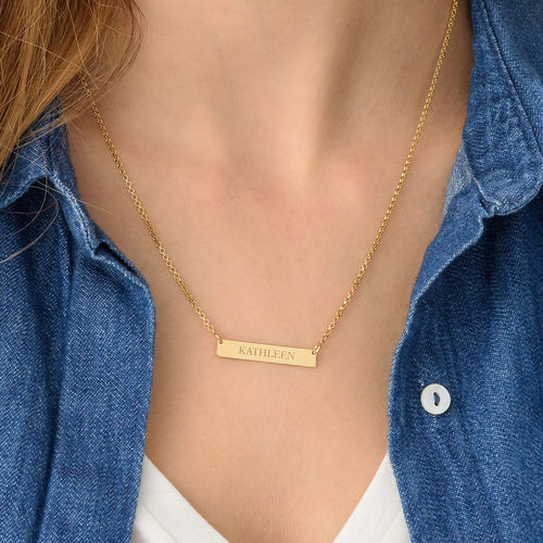 Tiny Engraved Bar Necklace in 18ct Gold Plating - 2
