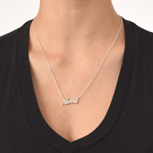 Tiny Name Necklace in Extra Strength Sterling Silver - 2