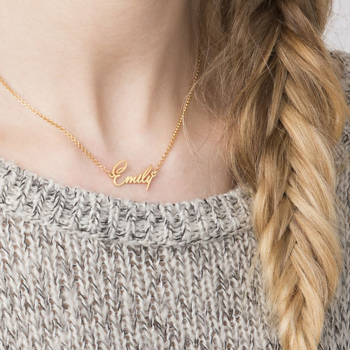 Tiny Name Necklace with 18ct Gold Plating - Extra Strength - 1
