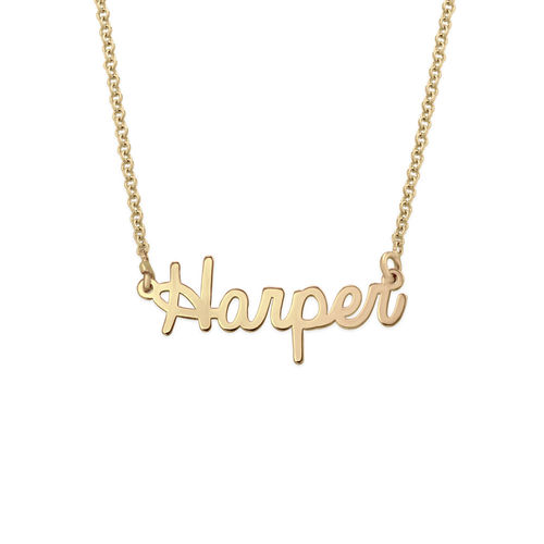 Tiny Personalised Jewellery - Cursive Name Necklace in 18ct Gold Plating
