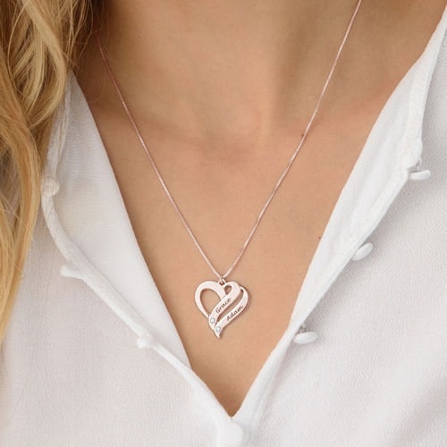 Two Hearts Forever One Rose Gold Plated with Diamonds Necklace - 2
