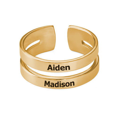 Two Name Ring with Gold Plating - 1