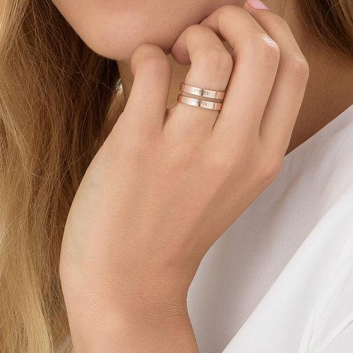 Two names ring in Rose Gold Plating - 4