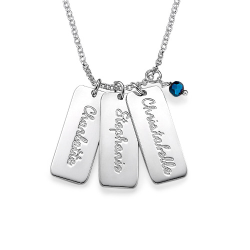 Vertical Crystal Name Bar Necklace