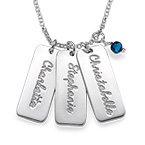 Vertical Crystal Name Bar Necklace