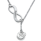 Y Shaped Infinity Necklace with Birthstone Initial