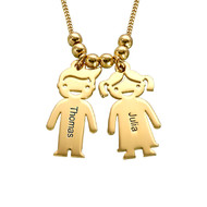 18ct Gold Plated Sterling Silver Mother's Necklace with Engraved Children Charms