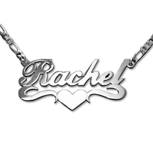Double Thick Sterling Silver Heart Name Necklace Mynamenecklace Au