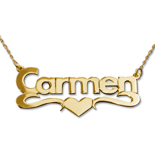 14ct Gold Print Heart Name Necklace