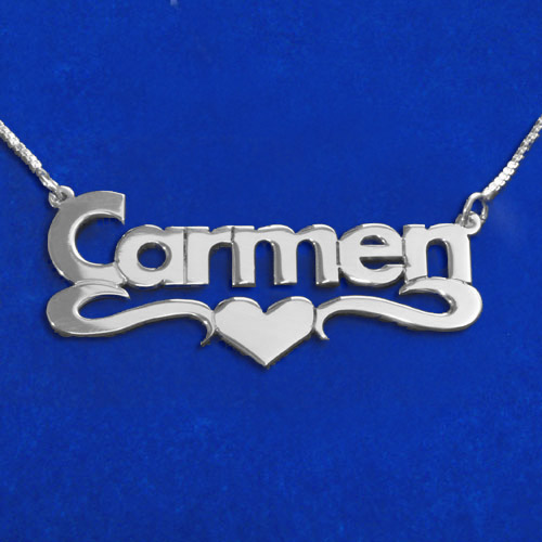 Silver Block Print Heart Name Necklace
