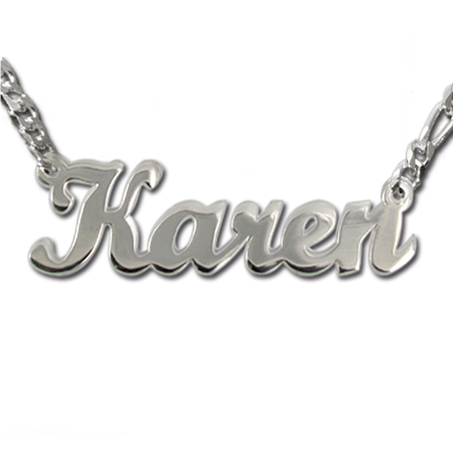 Double Strength Sterling Silver Script Style Name Necklace