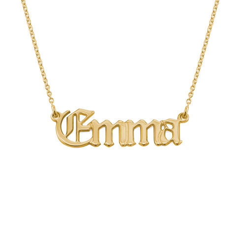 18ct Gold Plated Silver Old English Style Gothic Name Necklace - 1