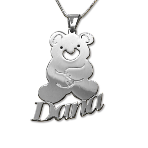 Personalised Kid's Teddy Bear Name Necklace