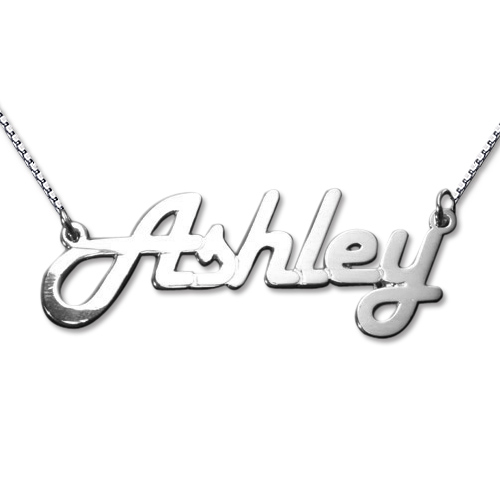 Stylish 14ct White Gold Name Necklace