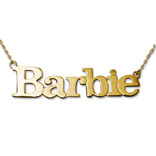 Solid 14ct Gold Block Letters Name Pendant