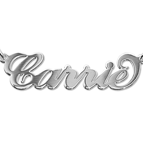 Super Size 1 Inch Sterling Silver Carrie Name Necklace