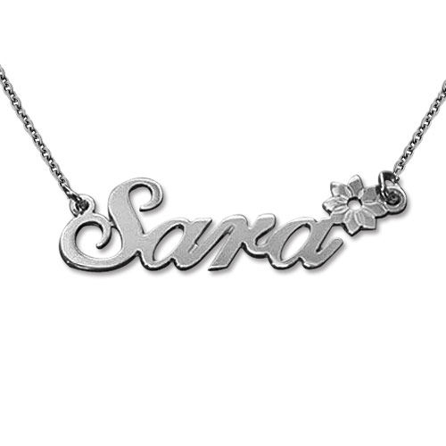 Sterling Silver Flower Name Necklace