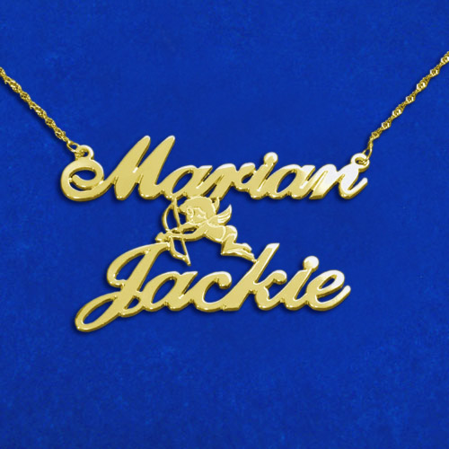 14ct Gold Two Names & Cupid Pendant