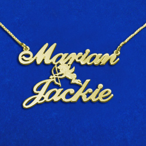 18ct Gold-Plated Sterling Silver Two Names & Cupid Pendant