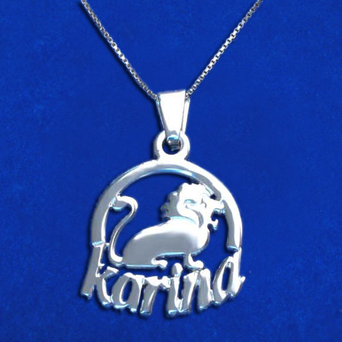 Sterling Silver Leo Sign Name Pendant