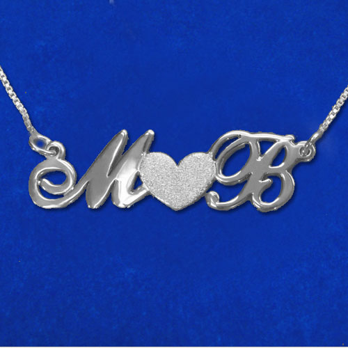 Personalised Silver Couples Necklace With a Sparkling Heart