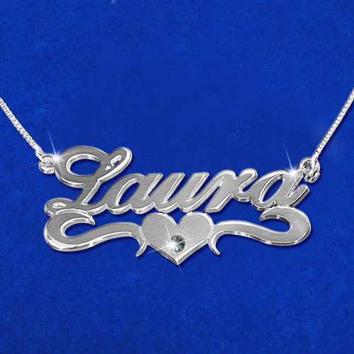Silver and Swarovski Crystal Middle Heart Name Necklace