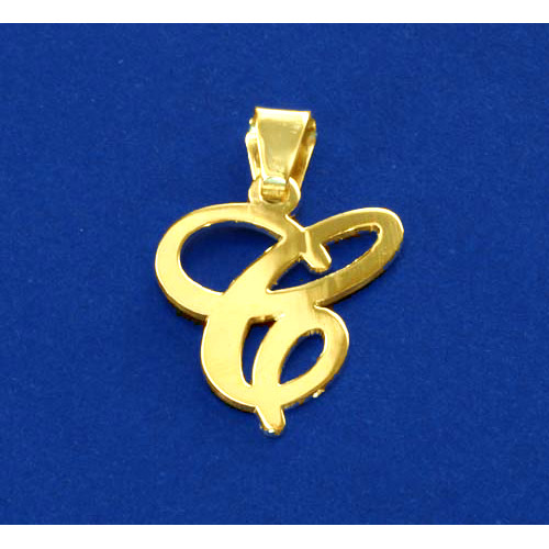 14ct Solid Gold Initials Pendant - Letter C